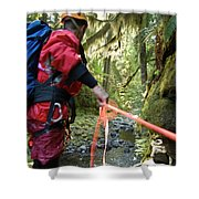 A Man Lowers A Rope For Canyoning Shower Curtain