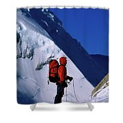 A Man Mountaineering In The Alps Shower Curtain