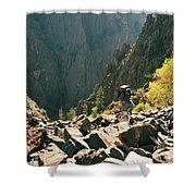 A Man Navigates A Rock Scree Field Shower Curtain