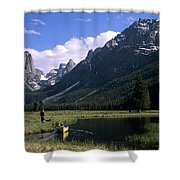 A Man Pulls His Canoe Up A River Valley Shower Curtain