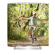A Man Rides A Bicycle Shower Curtain