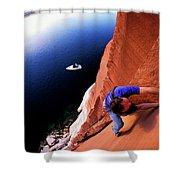 A Man Rock Climbing Shower Curtain