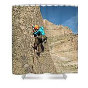 A Man Rock Climbing In Rocky Mountain Shower Curtain