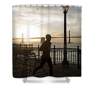 A Man Running On A Dock In The Harbour Shower Curtain
