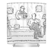A Man Sits On A Living Room Couch Shower Curtain