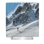 A Man Ski Touring In The Mountains Shower Curtain