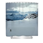 A Man Ski Touring Near Icefall Lodge Shower Curtain