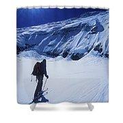A Man Ski Touring Under Blue Skies Shower Curtain