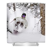 A Man Skiing Powder In The Trees Shower Curtain