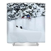 A Man Skis On Teton Pass In Wyoming Shower Curtain