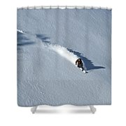 A Man Snowboards Down A Slope On Teton Shower Curtain