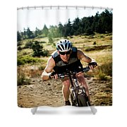 A Man Speeds Down A Trail On A Mountain Shower Curtain