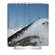 A Man Stands Atop A High Ridge Line Shower Curtain by Kennan Harvey