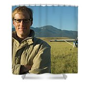 A Man Stands In A Field Next Shower Curtain