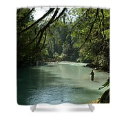 A Man Stands In A River Wearing Waders Shower Curtain