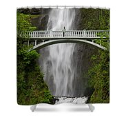 A Man Stands On The Benson Bridge Shower Curtain