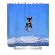 A Man Takes A Photo While Jumping Shower Curtain