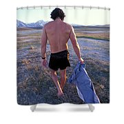 A Man Takes Off His Clothes And Walks Shower Curtain
