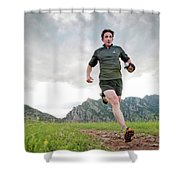 A Man Trail Runs Along The Spring Brook Shower Curtain