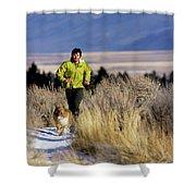 A Man Trail Runs On A Winter Day Shower Curtain