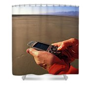 A Man Using A Gps Device At Sunset Shower Curtain