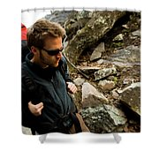 A Man Wearing A Backpack Hikes Shower Curtain