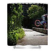 A Man With A Bike Standing On The Front Shower Curtain