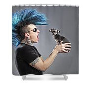 A Man With A Blue Mohawk Yells At His Shower Curtain