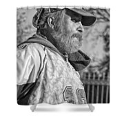 A Man With A Purpose Monochrome Shower Curtain