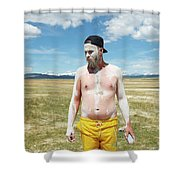 A Mans Face Covered In Clay Mud Shower Curtain