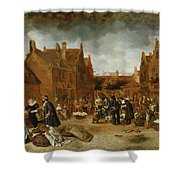 A Marketplace In Winter, 1653 Shower Curtain