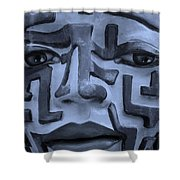A Maze Ing Face 1 Cyan Shower Curtain