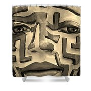 A Maze Ing Face 1 Sepia Shower Curtain