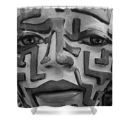A Maze Ing Face Black And White Shower Curtain