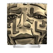 A Maze Ing Face Sepia Shower Curtain