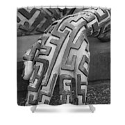 A Maze Ing Hand Black And White Shower Curtain
