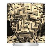 A Maze Ing Man 3 Sepia Shower Curtain