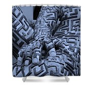 A Maze Ing Man 4 Cyan Shower Curtain