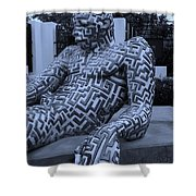 A Maze Ing Man 5 Cyan Shower Curtain