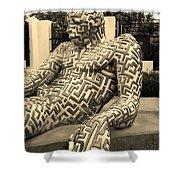 A Maze Ing Man 5 Sepia Shower Curtain