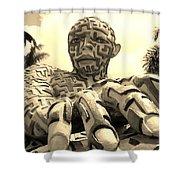 A Maze Ing Man 6 Sepia Shower Curtain