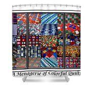 A Menagerie Of Colorful Quilts Triptych Shower Curtain