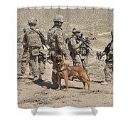 A Military Working Dog Accompanies U.s Shower Curtain