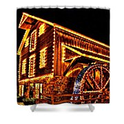 A Mill In Lights Shower Curtain by DJ Florek