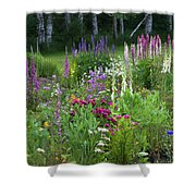 A Mixture Of Flowers Bloom In Hillside Shower Curtain