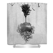 Tree Birds Clouds Abstract Paint Drips Shower Curtain