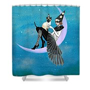 A Moon Cat  Shower Curtain
