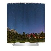 A Moonlit Nightscape Taken In Banff Shower Curtain