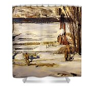 A Morning Snow On The Hudson River Shower Curtain