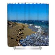 A Morning Walk On A Dominican Beach Shower Curtain